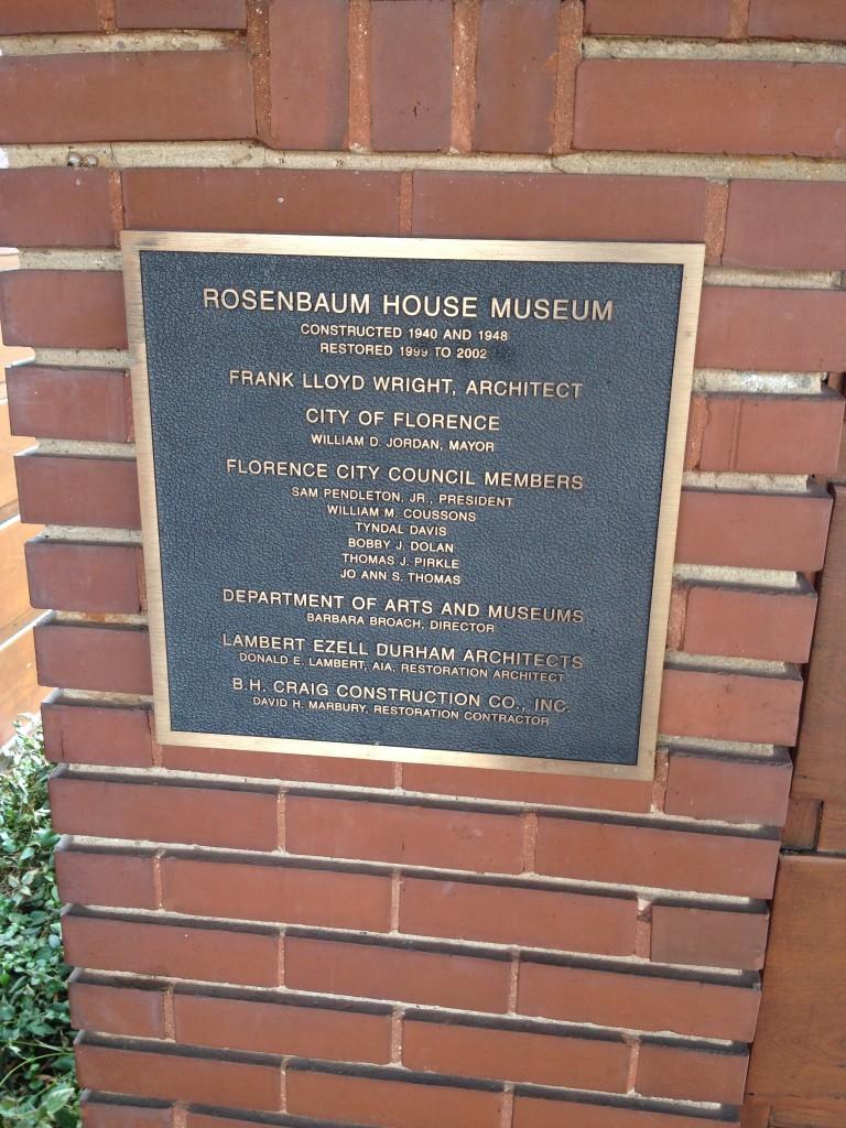 Rosenbaum House plaque